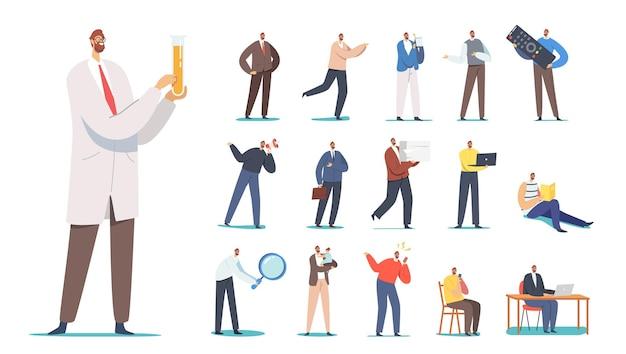 Set di personaggi maschili con telecomando tv, libro di lettura, ricerca scientifica in laboratorio, urla al megafono, uso di gadget, laptop isolato su sfondo bianco. cartoon persone illustrazione vettoriale