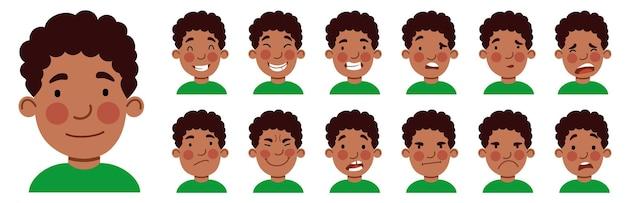 Un insieme di emozioni maschili. un ragazzo afroamericano è un avatar