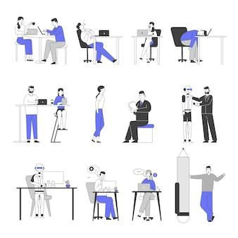 Set di caratteri aziendali maschili e femminili noioso in ufficio