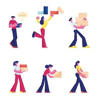 Set di caratteri maschili e femminili trasportano e tengono scatole isolate su priorità bassa bianca. cartoon illustrazione piatta