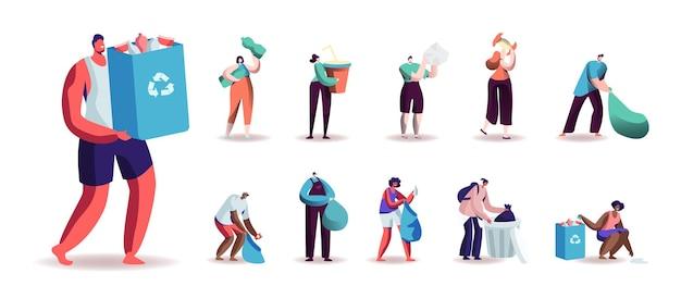 Set di personaggi maschili e femminili che raccolgono rifiuti per il riciclaggio