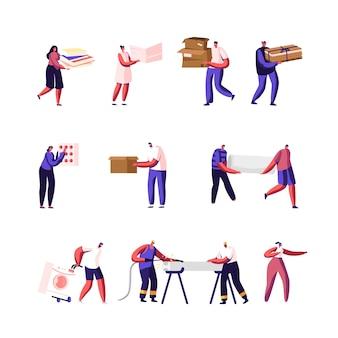 Impostare personaggi maschili e femminili che raccolgono carta straccia e rottami metallici per il riciclaggio
