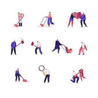 Set di personaggi maschili e femminili in diverse situazioni