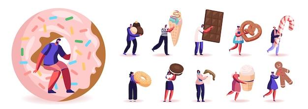 Set di personaggi maschili e femminili che mangiano dolci e snack. uomini e donne che godono di diversi antipasti barretta di cioccolato, gelato e ciambella isolati su sfondo bianco. illustrazione della gente del fumetto