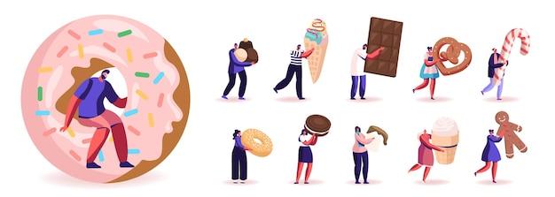 Set di personaggi maschili e femminili che mangiano dolci e snack