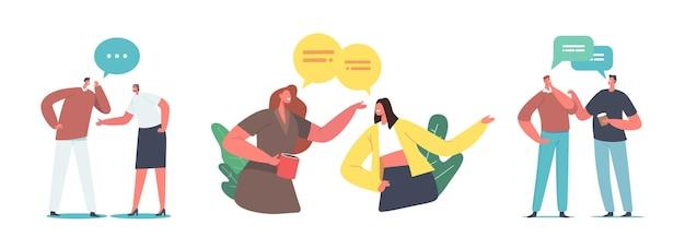 Set di pettegolezzi di personaggi maschili e femminili. le persone sussurrano, discutono di notizie e informazioni false, incontri di amici, comunicazione e chat isolati su sfondo bianco. fumetto illustrazione vettoriale