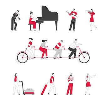 Set di personaggi maschili e femminili che giocano sul pianoforte a coda di strumenti musicali