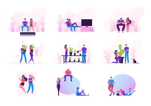 Set di personaggi maschili e femminili rimangono a casa durante la pandemia covid19, coppie amorose in quarantena per il coronavirus auto isolamento attività domestica, dipendenza da gadget.