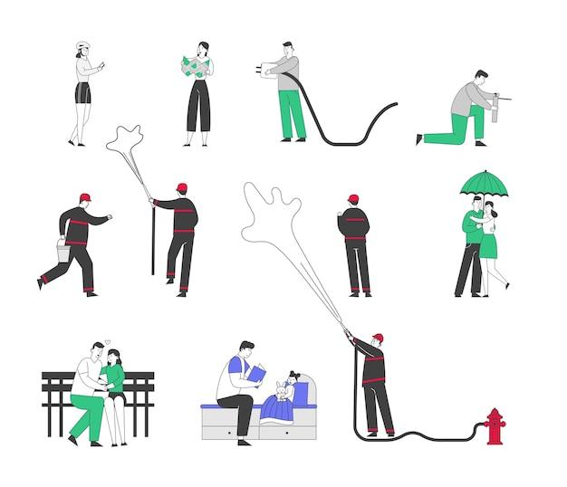 Set di personaggi maschili e femminili che utilizzano gadget