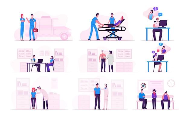 Impostare personaggi maschili e femminili che indossano maschere mediche in visita all'ospedale durante la pandemia covid19.