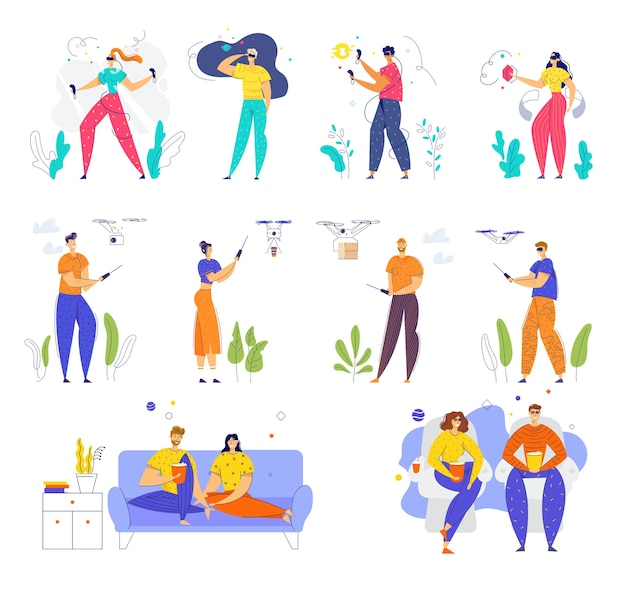 Set di personaggi maschili e femminili che indossano occhiali vr, giocano con quadcopter, visitano il cinema e guardano la tv a casa