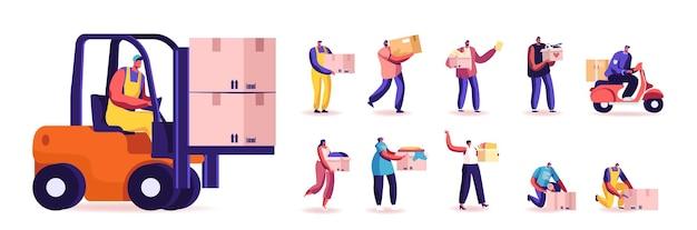 Set di personaggi maschili e femminili con scatole
