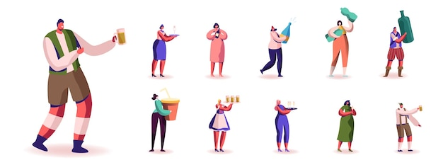 Set di personaggi maschili e femminili con diversi tipi di bevande e bevande. uomini e donne che bevono soda, birra, acqua e vino, ristoro isolati su sfondo bianco. illustrazione della gente del fumetto Vettore Premium