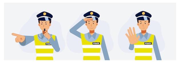 Set di ufficiale di polizia stradale maschio in posa diversa. illustrazione del personaggio dei cartoni animati di vettore piatto.