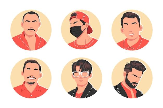 Set di illustrazione vettoriale piatta avatar uomo