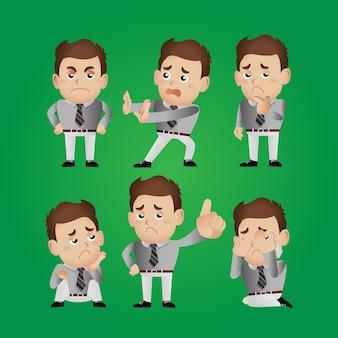 Set di personaggi dell'uomo in diverse pose