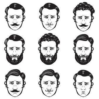 Set di teste di uomo con acconciatura diversa. barbiere. elementi per emblema, segno, distintivo. illustrazione