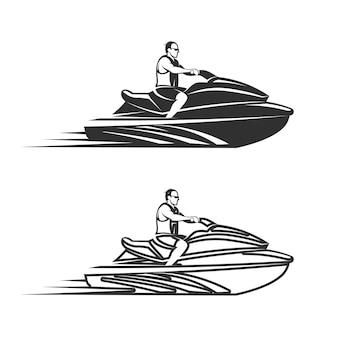 Set di uomo su jet ski isolato sfondo bianco