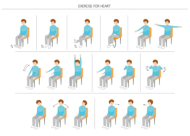 Set di uomo seduto sulla sedia e corpo in movimento per una buona salute, esercizio per un cuore sano healthy