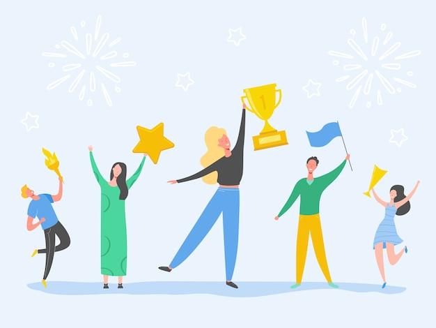 Set di uomo e donna che celebra la vittoria, ottenendo ricompensa, premio. illustrazione di concetto di successo di persone. personaggi dei leader aziendali. trofeo vincente dell'uomo d'affari e della donna di affari