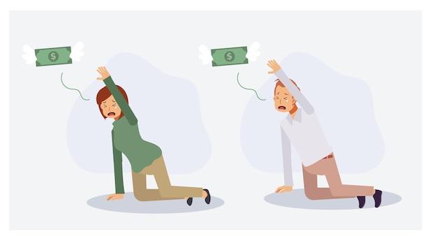Insieme dell'uomo e della donna che piange e che elemosina i soldi per non andare. i soldi volano via. mancanza di concetto di denaro, crisi finanziaria. illustrazione di personaggio dei cartoni animati piatto vettoriale 2d.