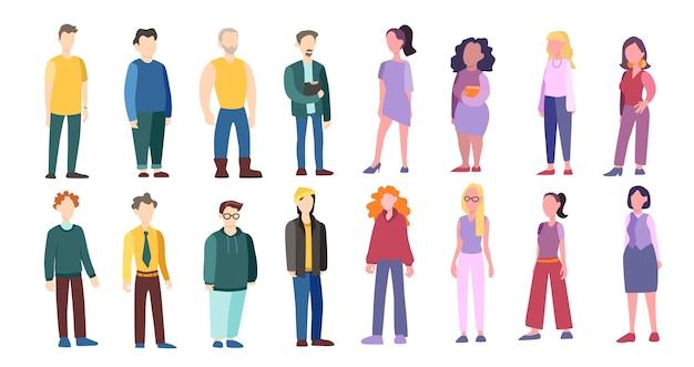 Set di uomo e donna di diversa razza ed età. carattere adulto
