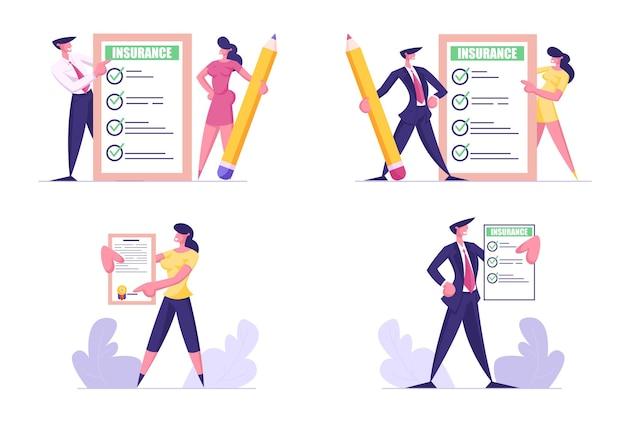 Set di certificati di assicurazione azienda uomo e donna con segni di spunta