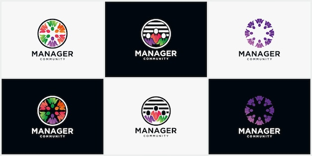 Imposta il logo della comunità manager, le persone, per la comunità di persone e il logo aziendale moderno dell'associazione di persone