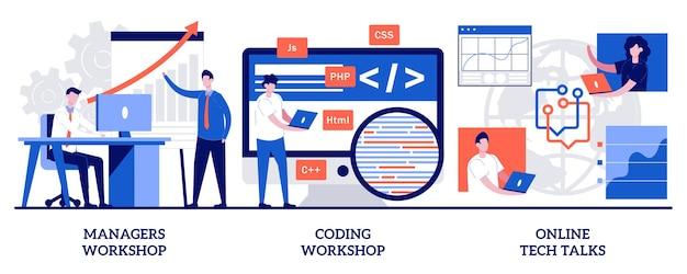 Set di workshop per manager, workshop di codifica, discussioni tecniche online, educazione digitale digital