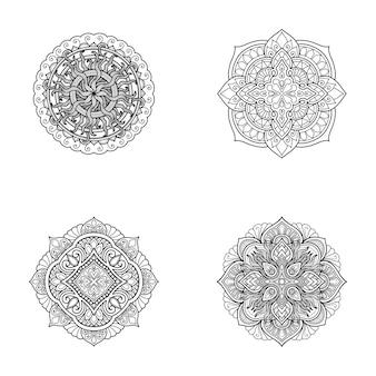 Imposta il disegno del mandala da colorare o stampa il design