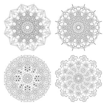 Set di mandala con fiore mehndi nella pagina del libro da colorare in stile etnico orientale