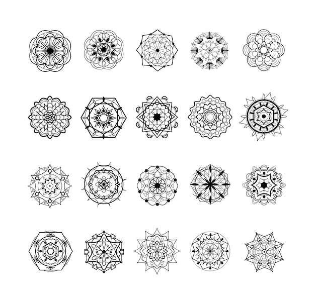 Set di mandala e ornamenti