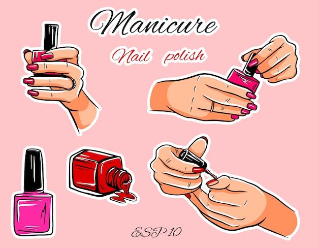 Set di manicure. bottiglie di smalto per unghie. pennello per manicure. mani con smalto per unghie. set manicure isolato.