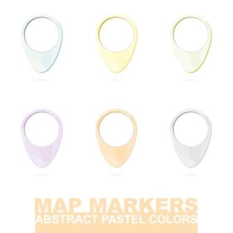 Set di indicatori di mappa in colori astratti pastello. illustrazione di vettore.