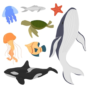 Set di balene di abitanti marini