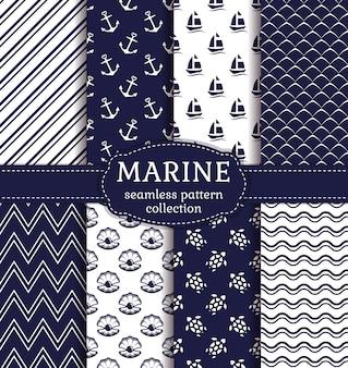 Set di sfondi marini e nautici nei colori blu navy e bianchi. tema del mare. raccolta di modelli senza cuciture carino. illustrazione vettoriale.