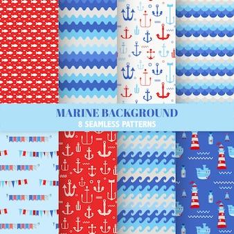 Set di marine seamless pattern