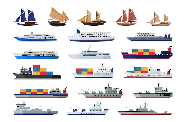 Set di collezioni di navi marittime che spediscono il trasporto dell'acqua delle barche
