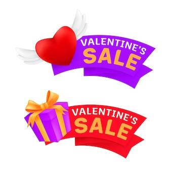 Set di banner di vendita di marketing san valentino che celebra con cuore volante con ali d'angelo e confezione regalo avvolto nastro dorato isolato su uno sfondo bianco