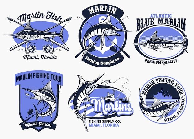 Set di distintivi per la pesca del marlin