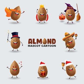 Set di mandorle mascotte in diverse pose