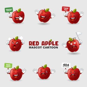 Set di mascotte mela in diverse pose
