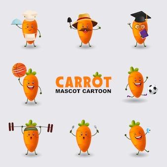 Set di mascotte cartoon illustrazione carota in diverse pose isolato sfondo