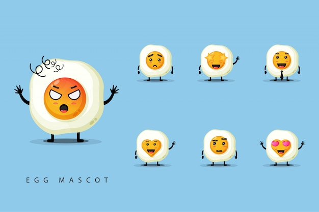 Set di mascotte uova carine