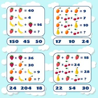 Set di giochi matematici. gioco educativo di matematica per bambini. compito di conteggio matematico. giochi di matematica con immagini per bambini. foglio di lavoro educativo.