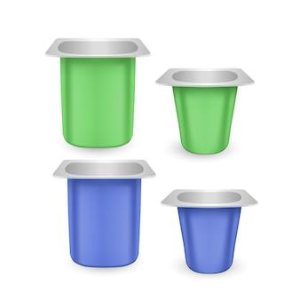 Set di vasi in plastica opaca per yogurt