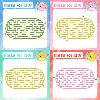 Una serie di labirinti. gioco per bambini. puzzle per bambini.