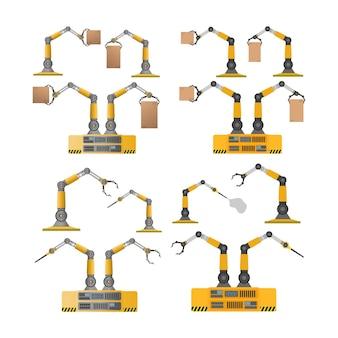 Set di robot meccanici che tengono scatole. braccio robotico industriale solleva un carico.