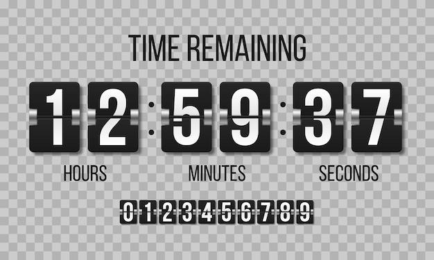 Set di cifre del tabellone segnapunti meccanico. flip clock che mostra quanto tempo ore, minuti e secondi.
