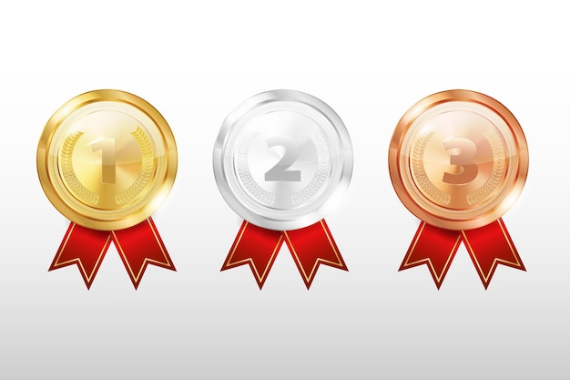Set di medaglie isolato su uno sfondo bianco.